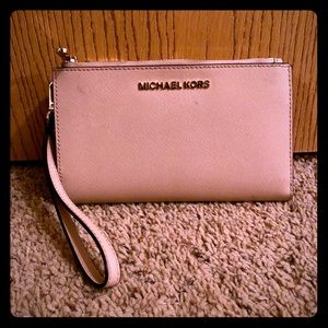 Micheal Kors Blush Wristlet Leather Wallet